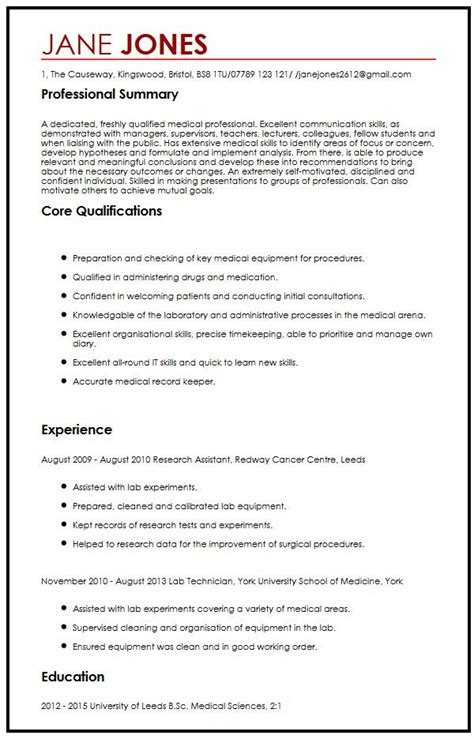 cv format medical student cv sle for medical students myperfectcv