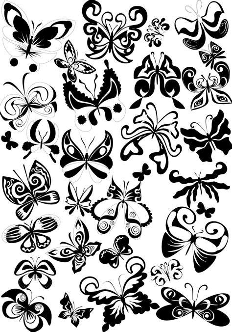 black tribal butterfly tattoos vector graphics