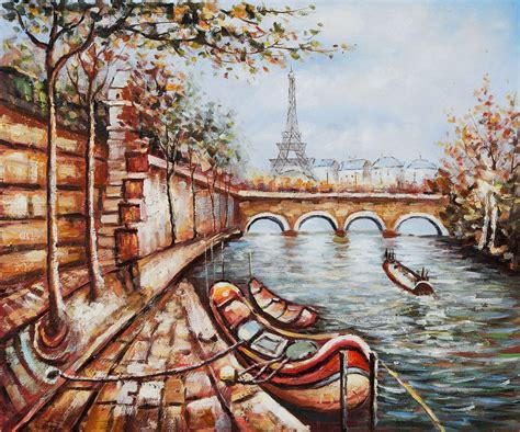 on the bank of the seine boat on the bank of the seine reproduction painting