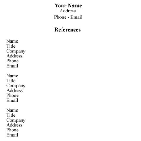 list of references template reference templates for resumes resume