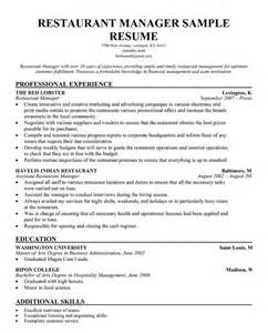 Resume Restaurant Manager by Restaurant Manager Resume Template Restaurant Management
