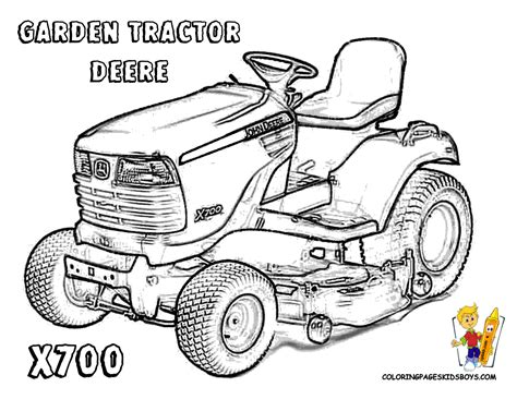 Lawn Mower Coloring Pages Hardy Tractor Free John  sketch template