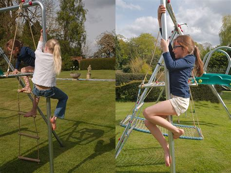 swing set with fireman pole cliffhanger swing extention