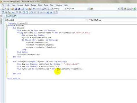 tutorial visual basic console application visual basic 2010 tutorial 1 console write comment doovi