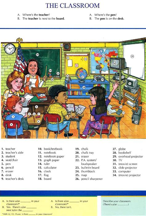 exercises with keys free english materials for you 6 the classroom pictures dictionary english study