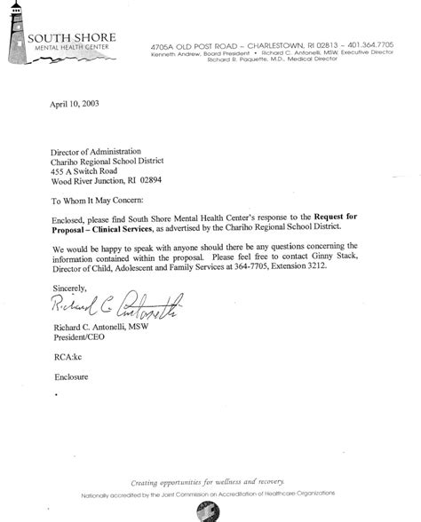 Vendor Award Letter Template South Shore Mental Health Center 2003 Rfp Bid Chariho School Parents Forum