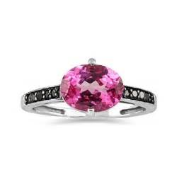 pink topaz and black ring in 10k white gold