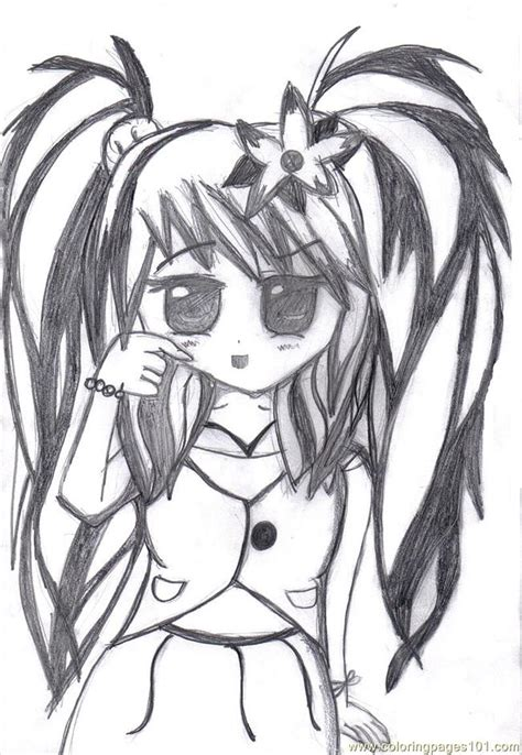 emo anime girl coloring pages emo cartoon girl coloring pages