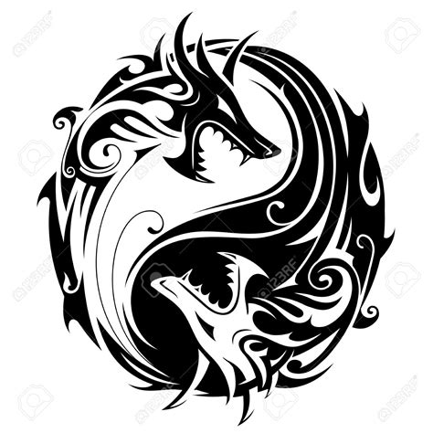 yin yang dragon tattoos clipart circle pencil and in color clipart