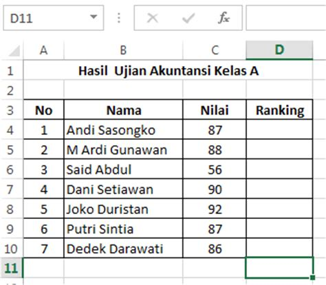 cara membuat ranking di excel cara membuat ranking otomatis excel 2013 anugerah dino