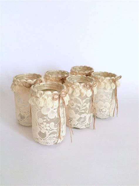 shabby chic jars set of 6 jar with candle shabby chic jar