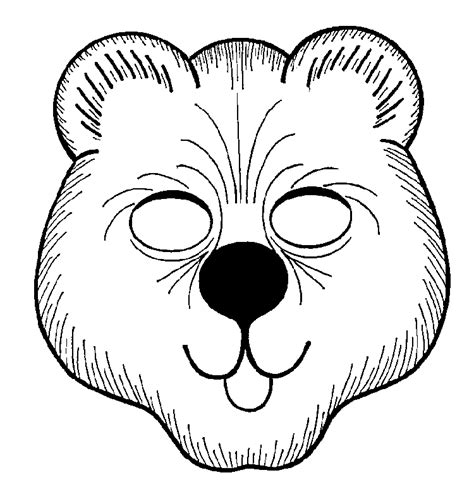 bear mask coloring page animal mask printable clipart best