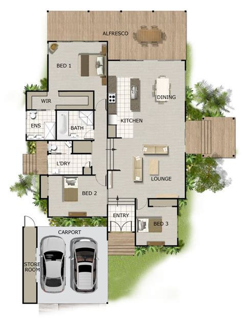 3 Bed Room Sloping Land House Plan Elevated House Plans Australia
