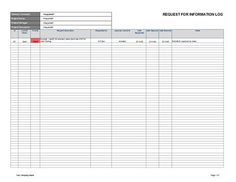 Request For Information Template Cyberuse Rfi Excel Template