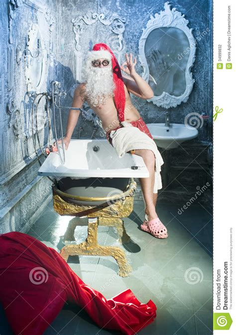 santa in the bathtub santa claus in the bathroom stock photography image