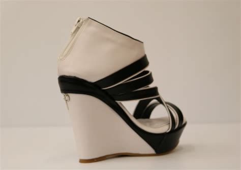 black and white wedge sandals white and black artificial leather wedge sandal 3