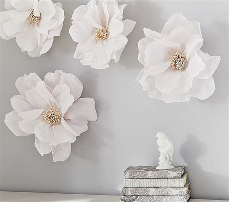 How To Make Paper Wall Flowers - crepe paper flower decor set pottery barn