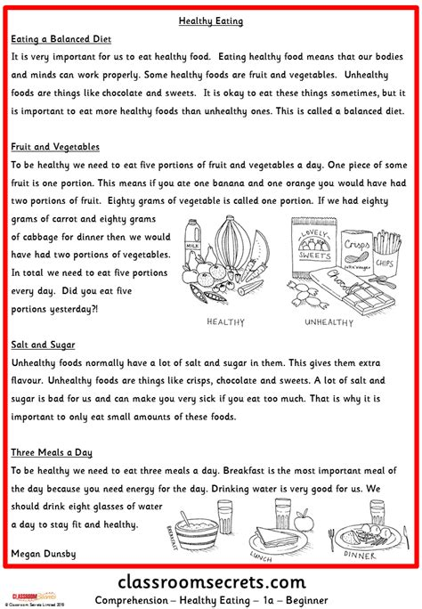 healthy eating comprehension classroom secrets