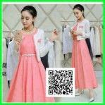 07872 Gamis Lirin Biru Baju Muslim Maxi Dress korea models and modern on