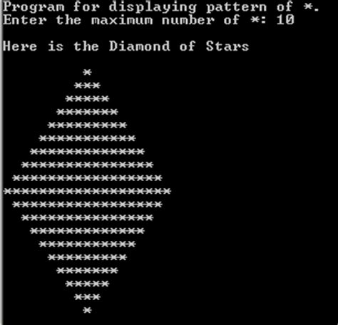 Java diamond star pattern using for loops