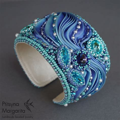 bead embroidery bracelets bracelet quot magic quot bracelet with shibori ribbon bead