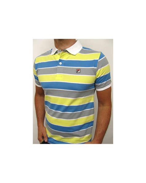 Polo Yellow Stripe Blue fila vintage smuggler striped polo yellow blue grey fila vintage smuggler the business