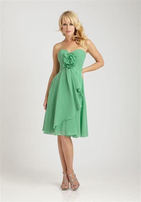 Green Dress chiffon strapless sweetheart a line shortlong bridesmaid
