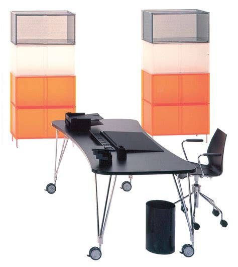 bureau kartell table max bureau roulettes l 160 cm blanc kartell