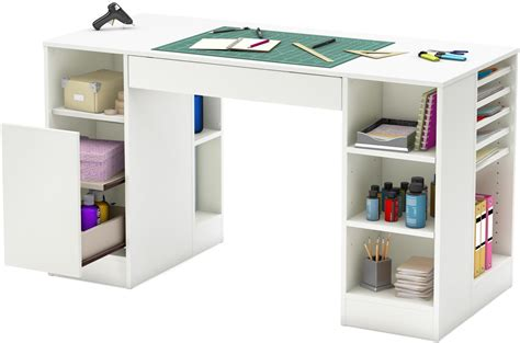 sewing machine table storage art supplies organizer desk white craft hobby new ebay