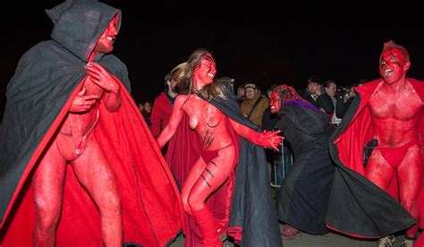 hundreds get naked to celebrate the pagan beltane fire