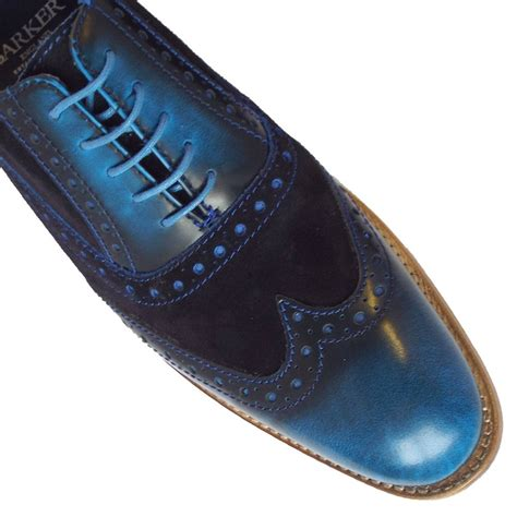 blue leather shoes barker grant blue shine s modern brogues in blue