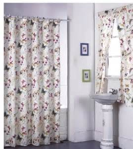 butterfly floral bathroom shower curtain with matching