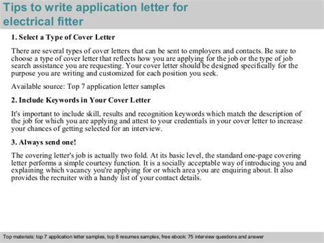 application letter for the post of electrician electrical fitter application letter