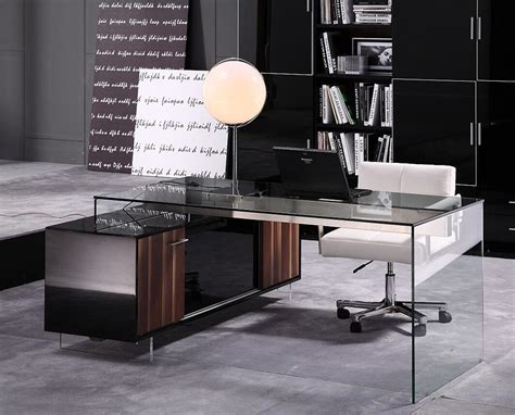 Modern Office Furniture Desk Contemporary Office Desk With Thick Acrylic Cabinet Support Legs Columbus Ohio V Alaska