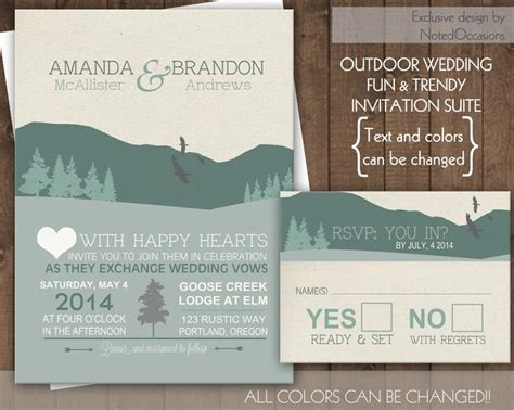 Wedding Invitations Mountains by Mountain Wedding Invitation Set Rustic Wedding Outdoor