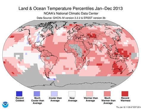 earth temperature map global climate report annual 2013 state of the climate