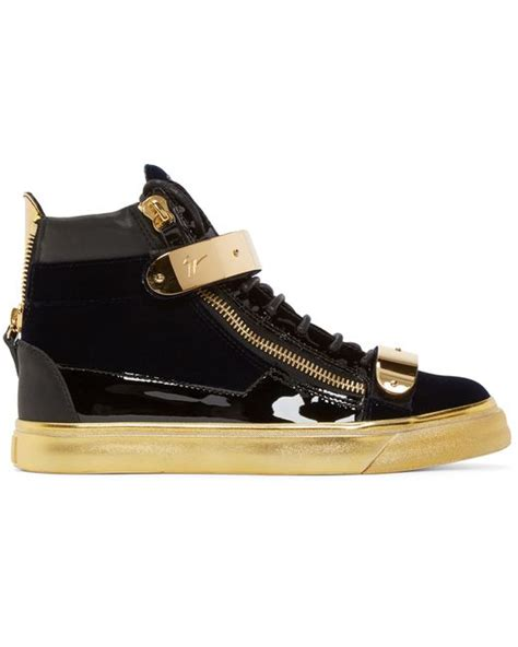 black and gold mens sneakers giuseppe zanotti black and gold velvet high top