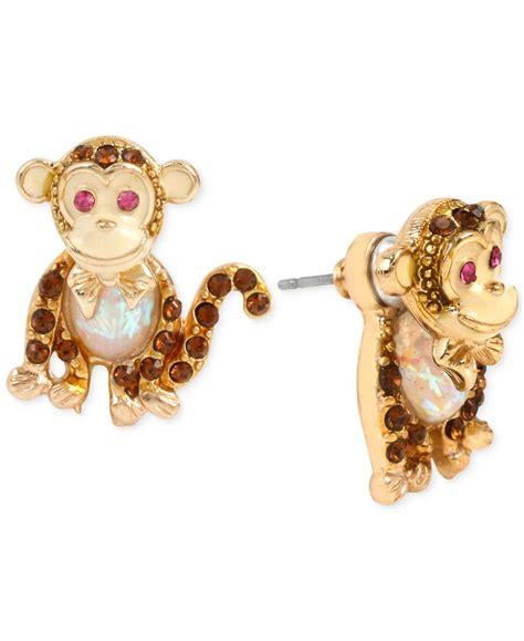 betsey johnson gold tone monkey stud earrings in
