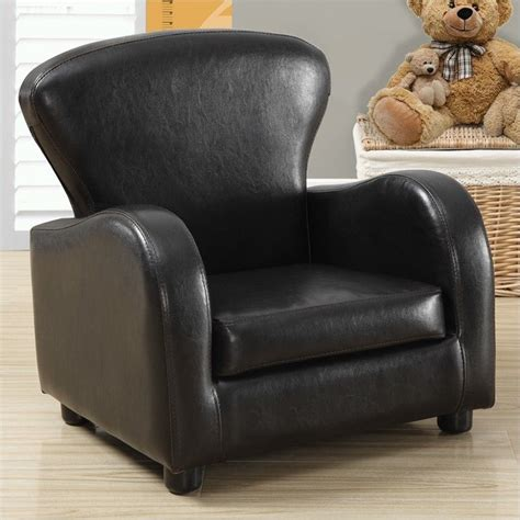 childrens faux leather armchair monarch kids club chair in dark brown faux leather