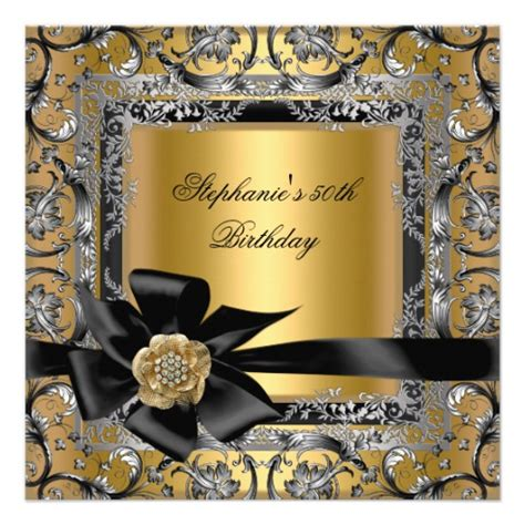 Black And Gold 50th Birthday Decorations by 50th Birthday Gold Silver Black Bow 5 25x5 25 Square
