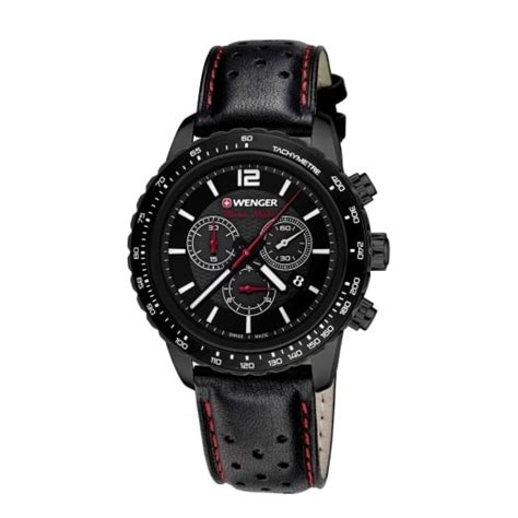 Swiss Army 2175 Black Leather wenger roadster black chrono mens swiss army black leather tachymeter bezel