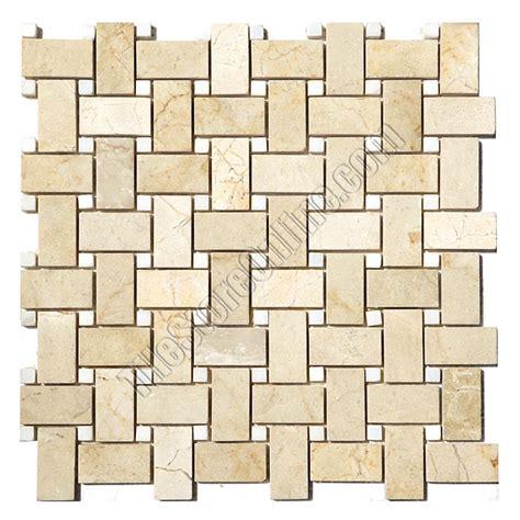 basketweave marble mosaic tile crema marfil basket weave