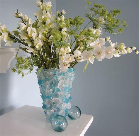 Sea Glass Vase by Decor Sea Glass Vase Nautical Decor Aqua Turquoise