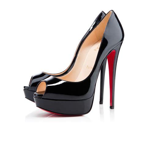 louboutin shoes peep 150 black patent leather shoes