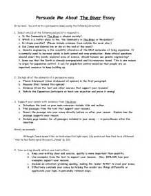 The Giver Essay Questions by The Giver Persuasive Essay