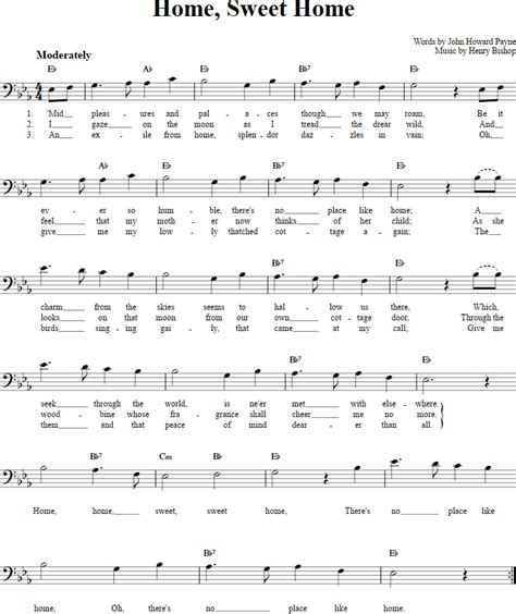 home sweet home chords lyrics and bass clef sheet