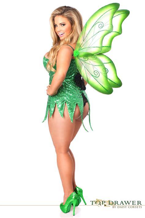 Tinkerbell Gift Wrap - green sequin tinkerbelle fairy corset halloween costume