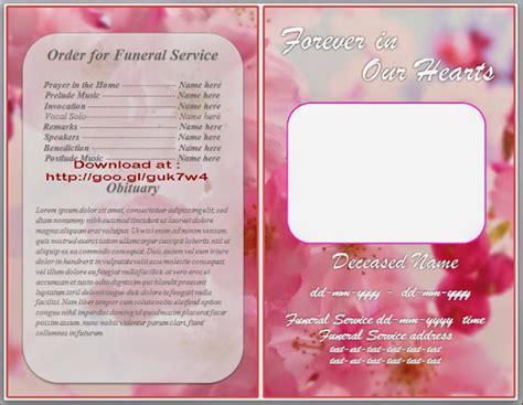 obituary template for microsoft word free download orchid