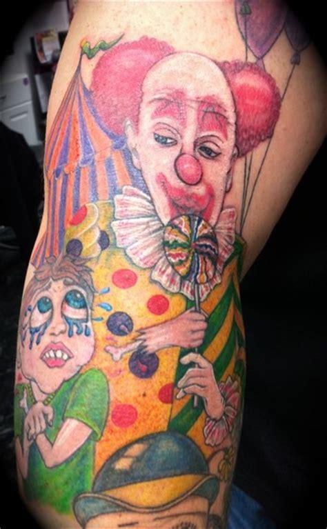 new school clown tattoo dan s evil candy stealing clown by kelly tattoonow