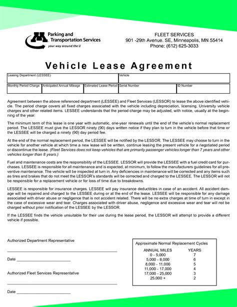 vehicle lease agreement template free vehicle lease template